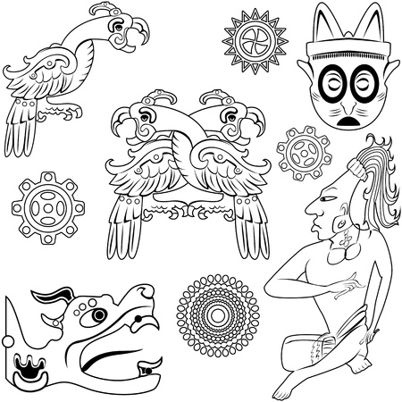toltec:  ancient american design elements on white Illustration