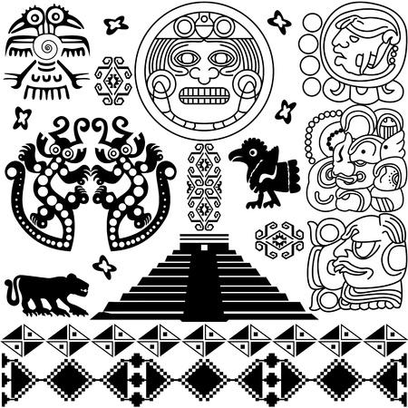 ancient american design elements on white Stock Vector - 15759614