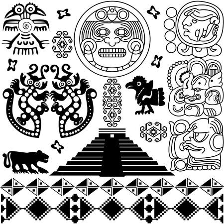 rituales: antiguos elementos de dise�o americano en blanco Vectores