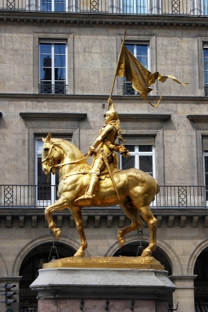patriotic martyr: Golden statue of Saint Joan of Arc in Paris, France