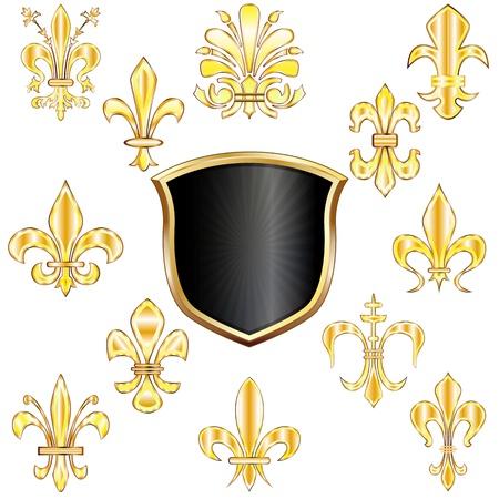 lys: set of golden Fleur-de-lis and shield on white