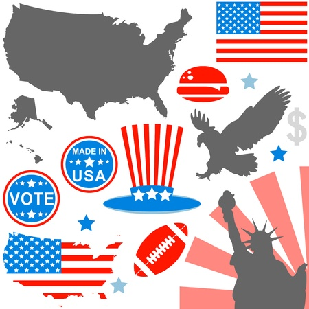 usa map: Vector of American symbols set on white