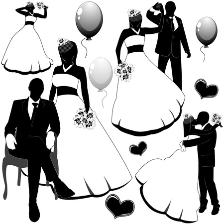 bride bouquet: silhouettes wedding pairs in different situations