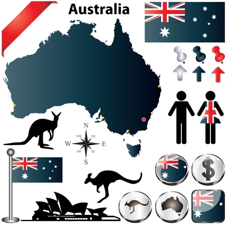 australian: Australia set with country shape, flags and symbols on white background