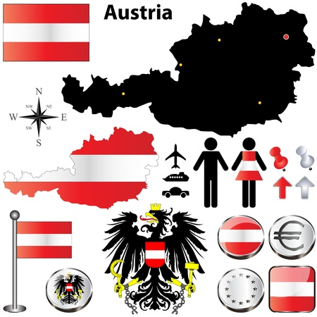 set of Austria country shape with flags, buttons and icons isolated on white background