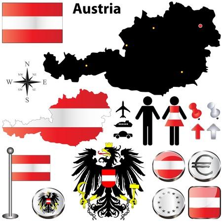 set van Oostenrijk land vorm met vlaggen, knoppen en pictogrammen geïsoleerd op witte achtergrond