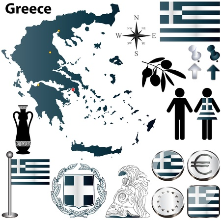 greece flag:  set of Greece country shape with flags, buttons and icons isolated on white background