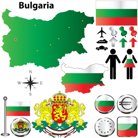 set of Bulgaria country shape with flags, buttons and icons isolated on white background Illustration