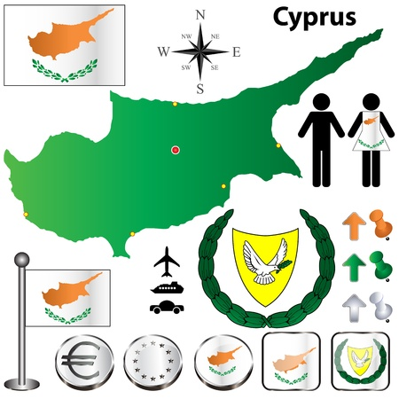 set of Cyprus country shape with flags, buttons and symbols Stock Vector - 17364370