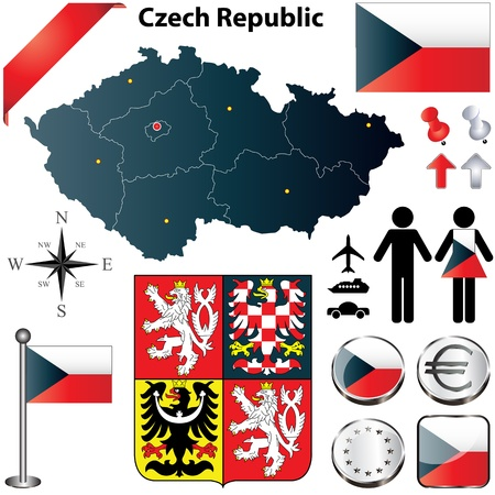 set of Czech Republic country shape with flags, buttons and symbols Vector