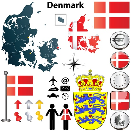 geography:  set of Denmark country shape with flags, buttons and symbols
