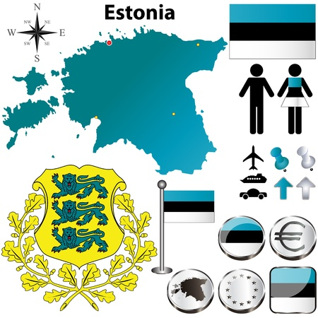 estonia: set of Estonia country shape with flags, buttons and symbols