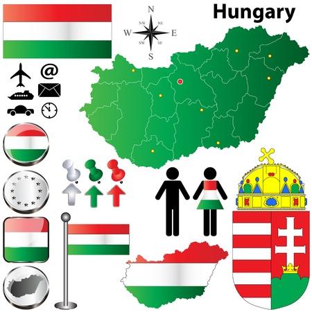ハンガリー国形状フラグ、ボタンおよび記号のセット