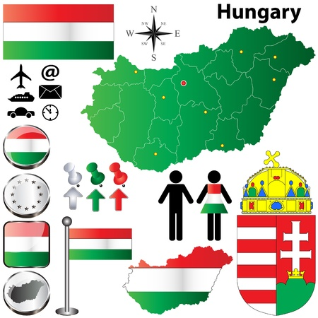 set of Hungary country shape with flags, buttons and symbols