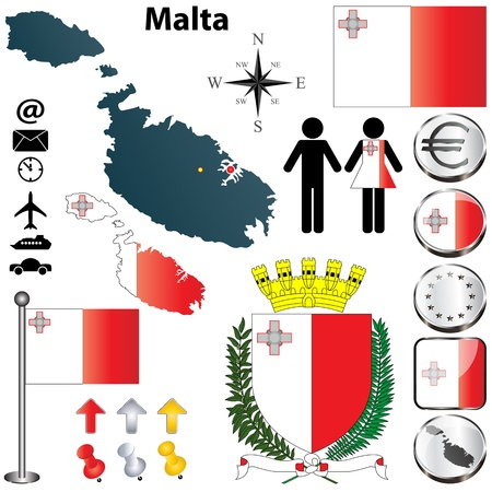 valletta: set of Malta country shape with flags, buttons and symbols Illustration