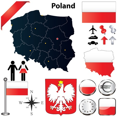 set of Poland country shape with flags, buttons and symbols Vector