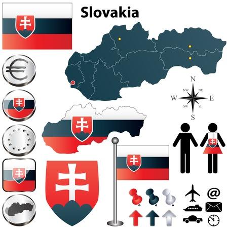 スロバキア国形状フラグ、ボタンおよび記号のセット  イラスト・ベクター素材