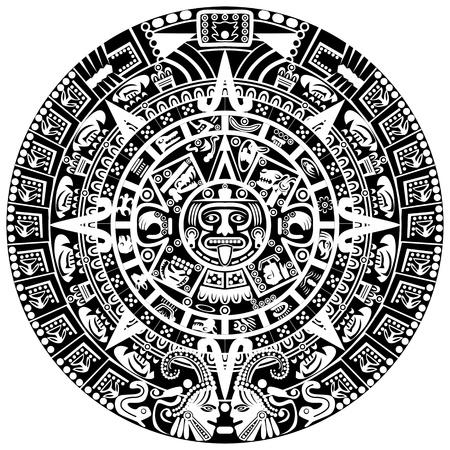 maya: Calendario maya en el fondo blanco Vectores