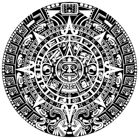 superstitions: Mayan calendar on white background