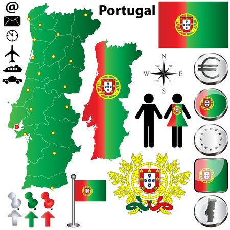 set of Portugal country shape with flags, buttons and icons isolated on white background Vector