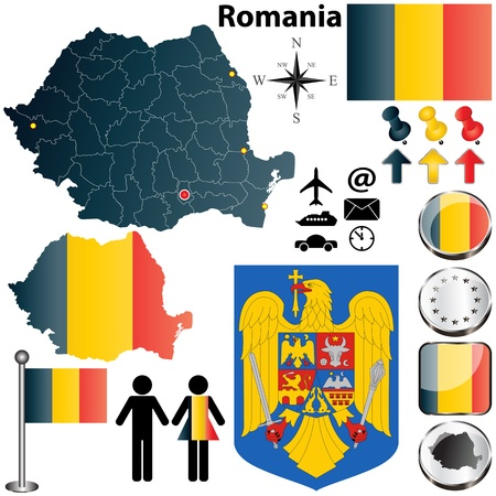 romania flag: set of Romania country shape with flags, buttons and icons isolated on white background Illustration