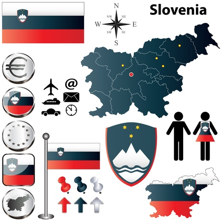 set of Slovenia country shape with flags, buttons and icons isolated on white background