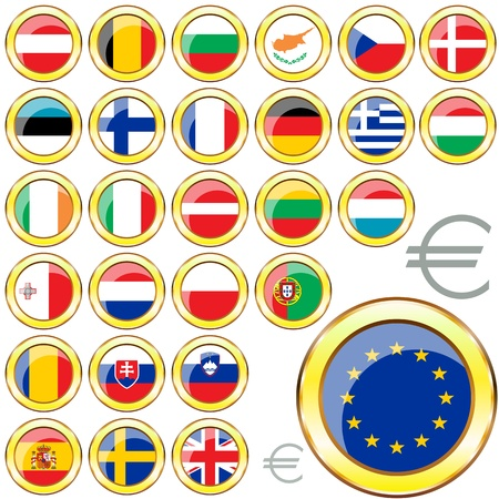 nato: Vector of buttons with flags of the 27 members of the European Union