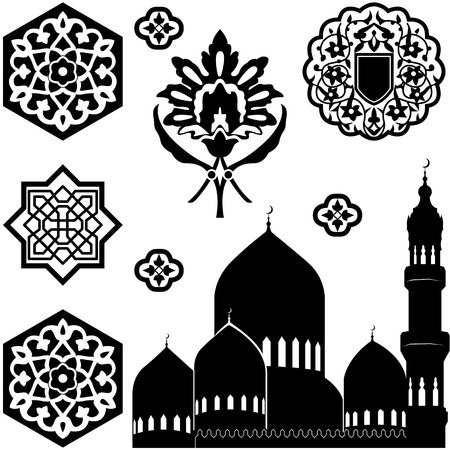 Vector set of Islamic ornaments on white background 向量圖像
