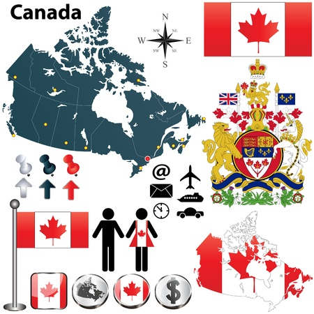 Vector set of Canada country shape with region borders, flags and arms on white background  Stock Vector - 17832543