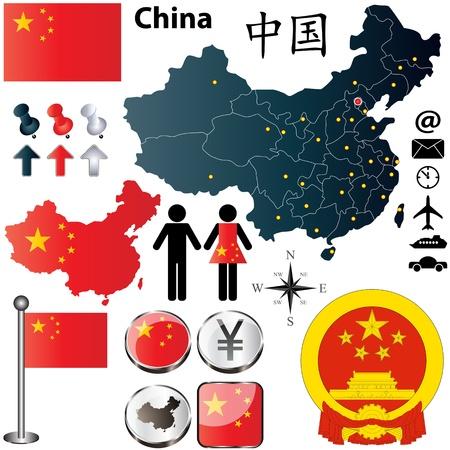 リージョンの境界、フラグのアイコンと詳細な国形状を持つ中国のベクトルを設定