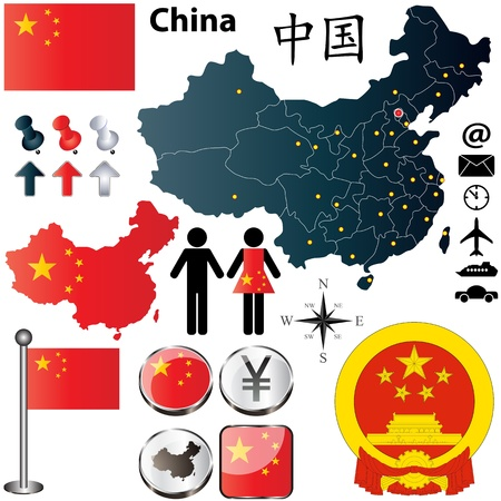 renminbi: Vector of China set with detailed country shape with region borders, flags and icons