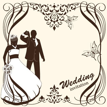 Vector of wedding card invitation with bride and groom Vector
