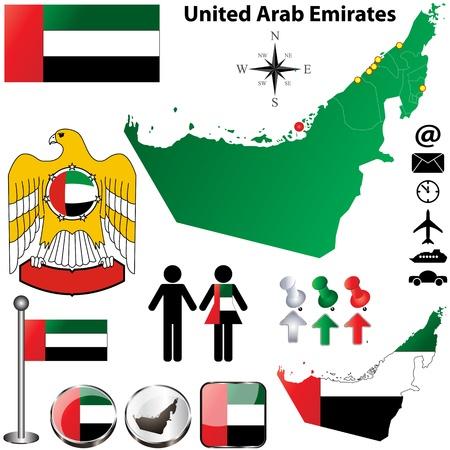 the emirates: Vector de Emiratos �rabes Unidos fij� con forma detallada pa�s con las fronteras de la regi�n, banderas e iconos