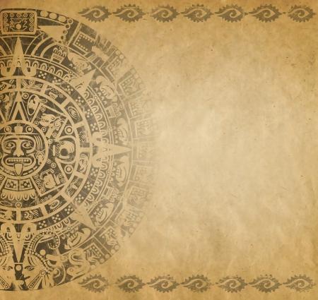 マヤのカレンダーと古い紙の上のアメリカ ・ インディアン スタイルの背景 写真素材