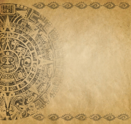Background in American Indian Style with Mayan calendar on old paper photo
