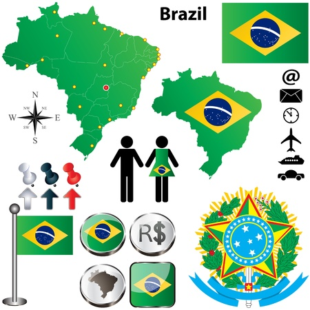 official symbol: Vector of Brazil set with detailed country shape with region borders, flags and icons
