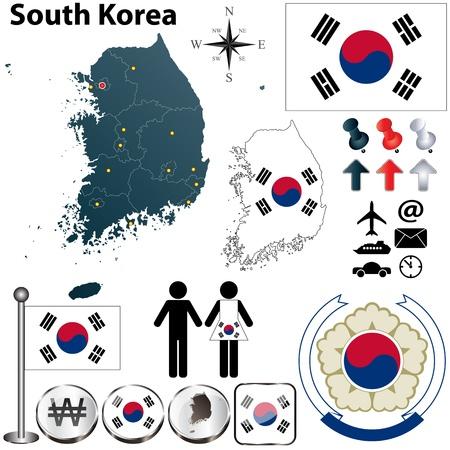 リージョンの境界、フラグのアイコンと詳細な国形状を持つ韓国のベクトルを設定