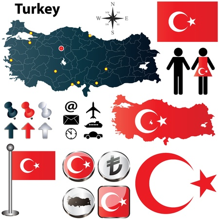 turkey flag: Vector of Turkey set with detailed country shape with region borders, flags and icons