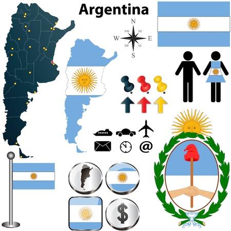 bandera argentina: Argentina fijó con forma detallada país con fronteras de la región, banderas e iconos