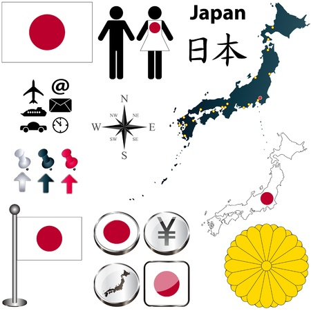 Japan set with detailed country shape with region borders, flags and icons