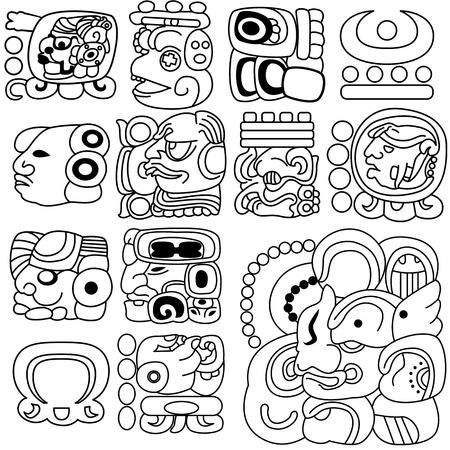 mural: image of ancient Mayan hieroglyphs on white Illustration