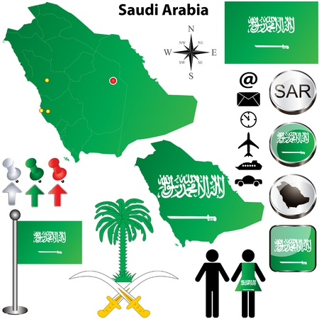 Saudi Arabia set with detailed country shape with region borders, flags and icons Illustration