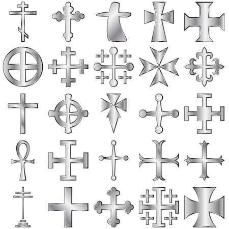 jesus cross:  silver crosses set on white Illustration