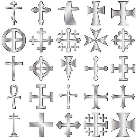 cross shape:  silver crosses set on white Illustration