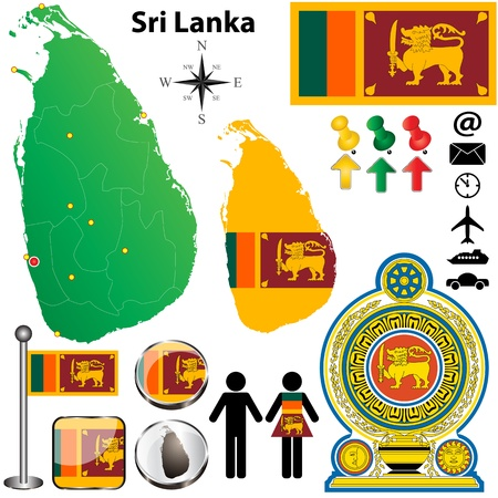 Sri Lanka set with detailed country shape with region borders, flags and icons Vector