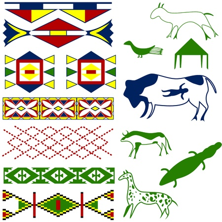 Vector image of ancient American pattern with animals on white Vector