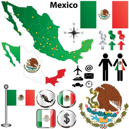 drapeau mexicain: Vecteur de carte du Mexique avec les régions sur fond blanc Illustration