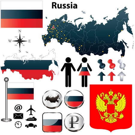 russia map: Vector of Russia set with detailed country shape with region borders, flags and icons