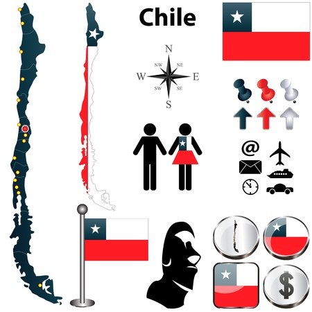 bandera de chile: Vector de Chile fijó con forma detallada país con las fronteras de la región, banderas e iconos