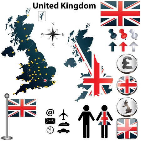 Vector of United Kingdom set with detailed country shape with region borders, flags and icons Illustration